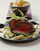 Double fillet steak with tarragon butter and vegetables