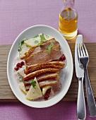 Roast duck breast (medium) with cranberry sauce & celeriac