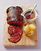 Roast leg of venison (medium) with spiced pears
