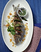 Seabream with lemon grass, ginger and chilli