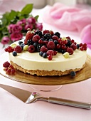 White chocolate ice cream cake with berries
