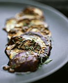 Fried aubergine with miso sauce
