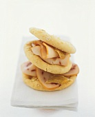 Sweet oat biscuits with smoked swordfish slices
