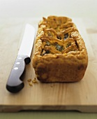 Curried vegetable pie made with chick-pea flour