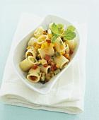 Mezzi paccheri (short, wide pasta tubes) with vegetable ragout