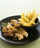 Rabbit ragout with chick-pea chips
