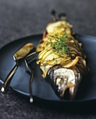 Sea bass in potato crust with fennel leaves
