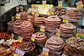 Sausage stall in the covered market, Sao Paolo (Brazil)