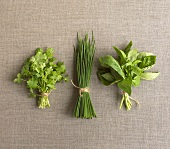 Parsley, chives and basil, a bunch of each