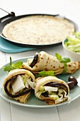Pancakes filled with aubergine and feta cheese