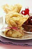Pancake purses with cherries