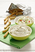 Feta dip with herbs and mozzarella with chilli