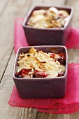 Fruit dessert with slivered almonds