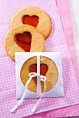 Three window cookies (biscuits with candy windows)