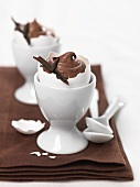 Chocolate mousse in eggshell