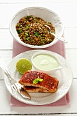 Tandoori salmon with lime sauce and lentil salad