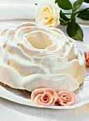 Coconut cake in the shape of a rose