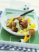 Rye bread croutons with melted cheese and bacon