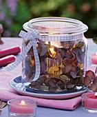 Faded hydrangeas and candle in preserving jar
