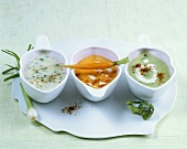 Spring soup, cream of carrot soup & cream of broccoli soup