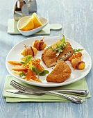 Breaded pork escalope with rocket and soft cheese stuffing