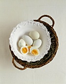 Boiled eggs from Araucana hens