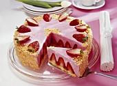 Strawberry cream cake, pieces removed