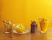 Rhubarb compote, mango salad, plum sauce, fruit compote