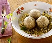 Calf's liver dumplings on onions