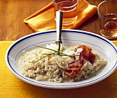 Scorzonera risotto with fried Parma ham