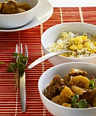 Lamb curry with pineapple, banana and Biryani rice