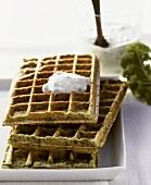 Kale waffles with herb dip