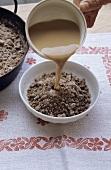 Hadnsterz (buckwheat flour porridge, Austria) with coffee