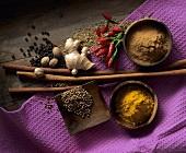 Spice still life (coriander, ginger, turmeric, cinnamon etc.)