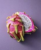 A halved dragon fruit