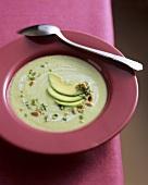 Avocado cream soup with pine nut gremolata