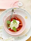 Strawberry soup with quark foam
