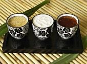 Sesame sauce, yoghurt & ginger sauce and Thai chilli sauce