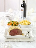 Beef fillet with horseradish crust & accompaniments for Xmas