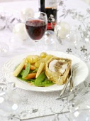 Chicken breast in puff pastry and vegetables for Christmas