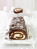 Chocolate sponge roll for Christmas