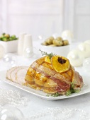 Bacon-wrapped rolled turkey roast for Christmas