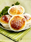 Bread rolls filled with gooseberry jam