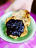 Blueberry jam on rusk