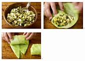 Stuffing cabbage leaves with goat's cheese & hazelnut stuffing