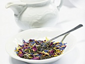 Black tea flavoured with flowers