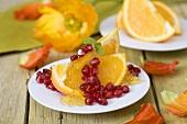 Orange wedges with pomegranate seeds and orange jelly
