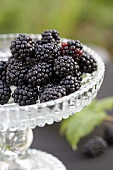 Blackberries on a crystal stand