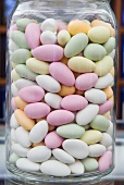 Sugared almonds in a jar
