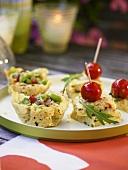 Bean salad in Parmesan baskets and polenta slices